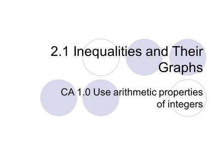 2.1 Inequalities and Their Graphs CA 1.0 Use arithmetic properties of integers.