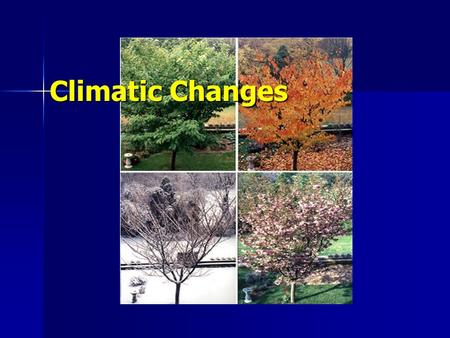 Climatic Changes. Standards 4d: Students know the differing Greenhouse conditions on Earth, Mars and Venus; the origins of those conditions; and the climatic.