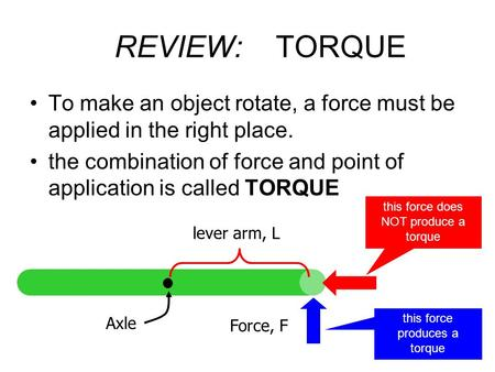 REVIEW: TORQUE To make an object rotate, a force must be applied in the right place. the combination of force and point of application is called TORQUE.