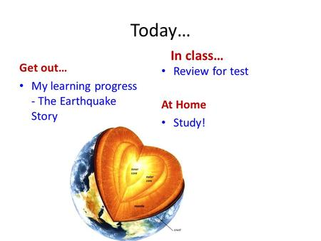 Today… Get out… My learning progress - The Earthquake Story In class… Review for test At Home Study!