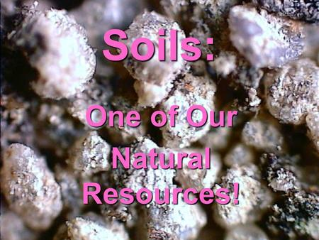 Soils: One of Our Natural Resources!. Some call it dirt…..But it is Soil !!! Soil is made of loose, weathered rock and organic material.