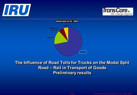 © International Road Transport Union (IRU) 2008 Page 1 The Influence of Road Tolls for Trucks on the Modal Split Road – Rail in Transport of Goods Preliminary.