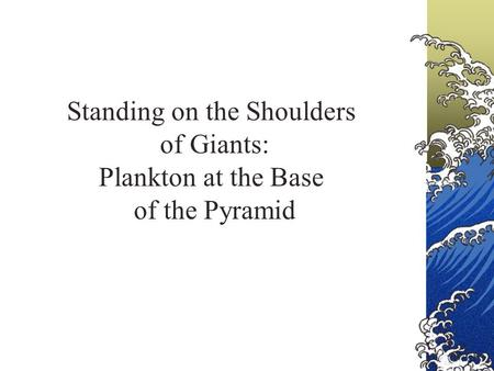 Standing on the Shoulders of Giants: Plankton at the Base of the Pyramid.