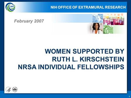 1 WOMEN SUPPORTED BY RUTH L. KIRSCHSTEIN NRSA INDIVIDUAL FELLOWSHIPS February 2007 NIH OFFICE OF EXTRAMURAL RESEARCH.