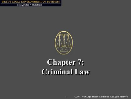 ©2001 West Legal Studies in Business. All Rights Reserved. 1 Chapter 7: Criminal Law.