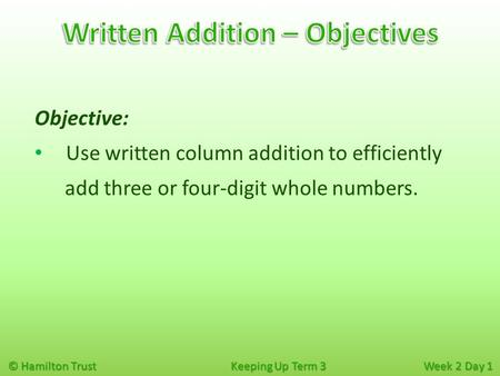 © Hamilton Trust Keeping Up Term 3 Week 2 Day 1 Objective: Use written column addition to efficiently add three or four-digit whole numbers.
