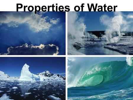 Properties of Water. Polar molecule Cohesion and adhesion High specific heat Density – greatest at 4 o C Universal solvent of life.