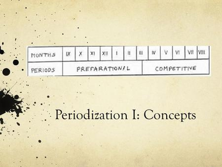 "Periodization I: Concepts. What is training? Stimulus and adaptation ""the aim of a training program is to increase protein synthesis in accordance with."