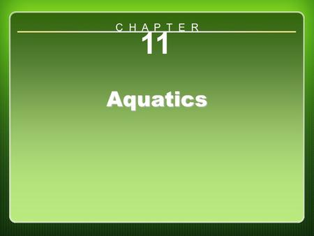 Chapter 11 Aquatics 11 Aquatics C H A P T E R. Water Competence Model Water safety Water games Competitive swimming Underwater swimming (continued)