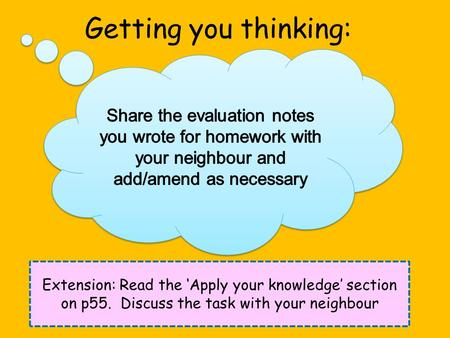 Getting you thinking: Extension: Read the 'Apply your knowledge' section on p55. Discuss the task with your neighbour.