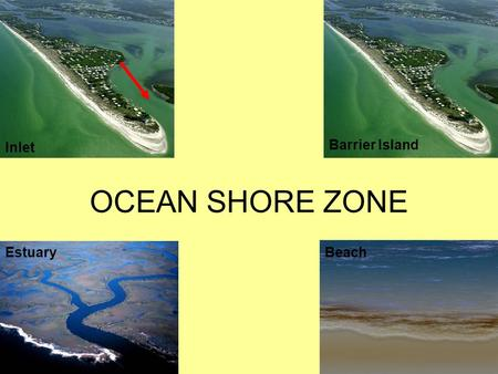 OCEAN SHORE ZONE Inlet Estuary Barrier Island Beach.