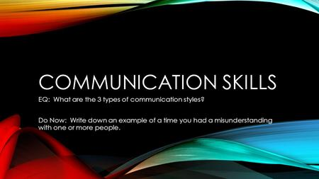 COMMUNICATION SKILLS EQ: What are the 3 types of communication styles? Do Now: Write down an example of a time you had a misunderstanding with one or more.