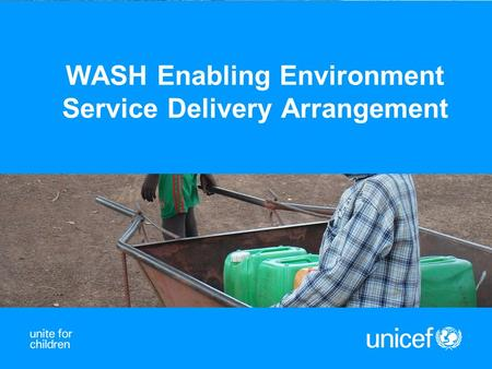 WASH Enabling Environment Service Delivery Arrangement.