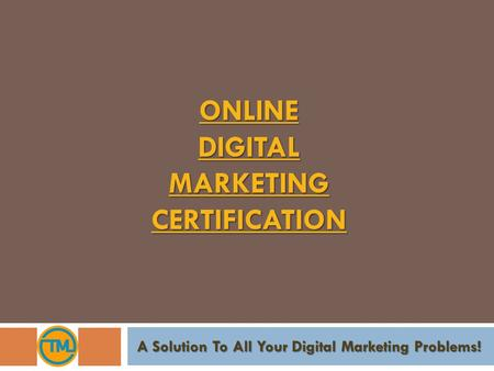 ONLINE DIGITAL MARKETING CERTIFICATION
