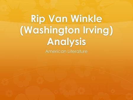 rip van winkle analytical essay