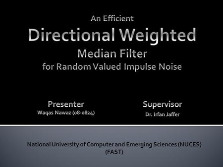 Motivations Paper: Directional Weighted Median Filter Paper: Fast Median Filters Proposed Strategy Simulation Results Conclusion References.
