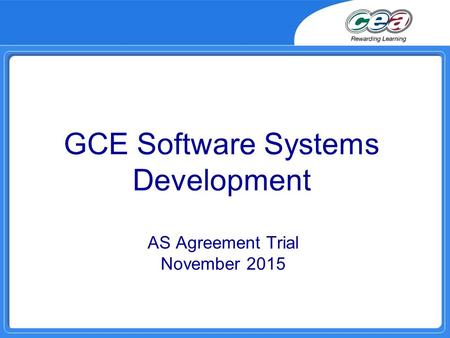 GCE Software Systems Development AS Agreement Trial November 2015.