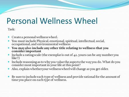 Personal Wellness Wheel Task: Create a personal wellness wheel. You must include Physical, emotional, spiritual, intellectual, social, occupational, and.