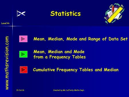 Level 4+ 19-Jul-16Created by Mr. Lafferty Maths Dept. Statistics Mean, Median, Mode and Range of Data Set Mean, Median and Mode from a Frequency Tables.