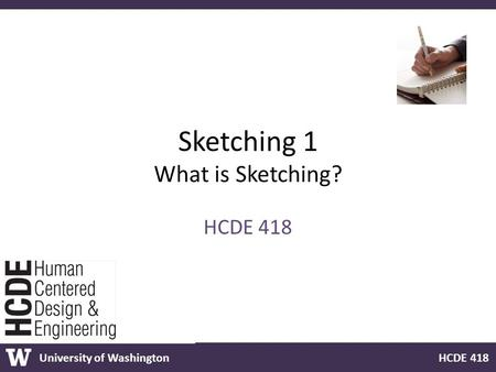 University of Washington HCDE 418 Sketching 1 What is Sketching? HCDE 418.
