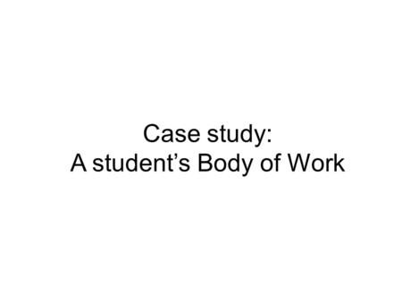 Case study: A student's Body of Work. Conceptual Framework The Conceptual Framework in Visual Arts is a system that allows you to clarify the important.