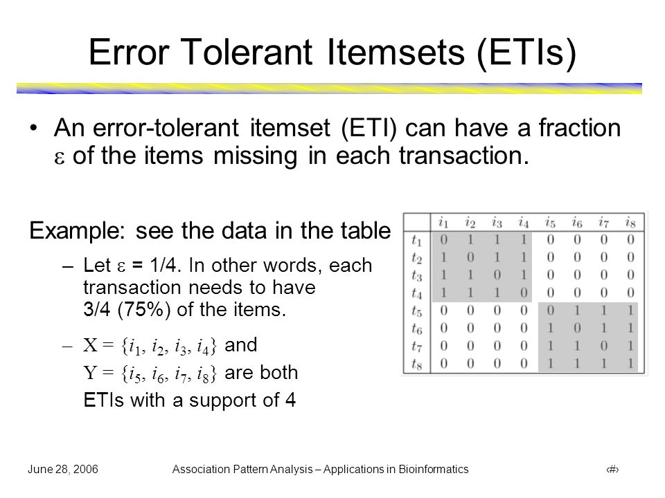 June 28, 2006 Association Pattern Analysis – Applications in Bioinformatics 37 ETIs to Identify Protein Functional Modules  Groups of proteins are identified as error tolerant itemsets (ETIs)  ETI relaxes the density constraints of the pattern in both dimensions  Maximum sparseness allowed: 0.2 (along row) and 0.25 (along column)  Minimum support: 5 protein complexes  Gene Ontology is used to validate following three identified ETIs {CLF1,LEA1,PRP4,PRP46,RSE1,SMB1,SMD2,SNU114,SPP382} {Pre2,Pre4,Pre5,Pre6,Pre8, Pre9,Pup3,Rpt3,Scl1} {Rpn10,Rpn12,Rpn3,Rpn6,Rpn8,Rpn9,Rpt2,Rpt3,Rpt6}