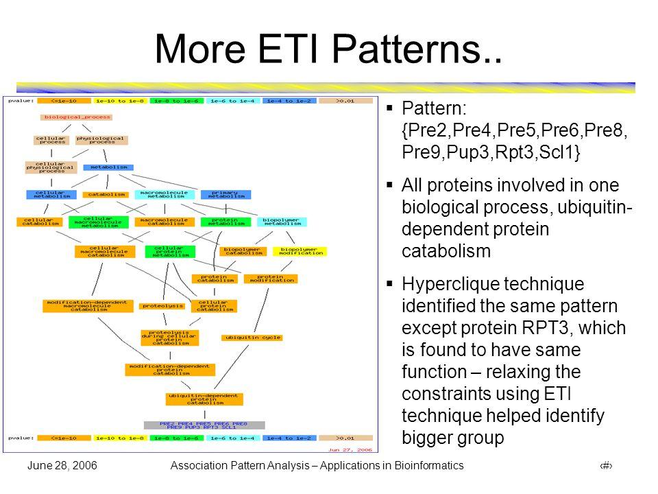 June 28, 2006 Association Pattern Analysis – Applications in Bioinformatics 40 More ETI Patterns..