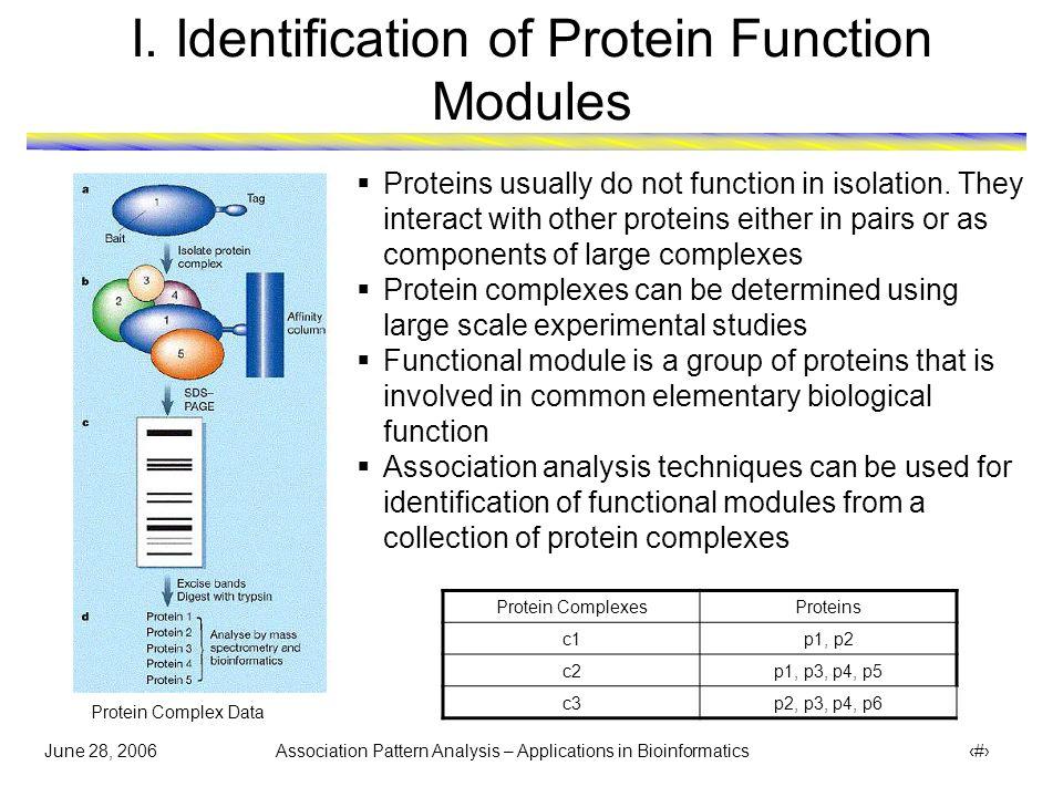 June 28, 2006 Association Pattern Analysis – Applications in Bioinformatics 5 II.