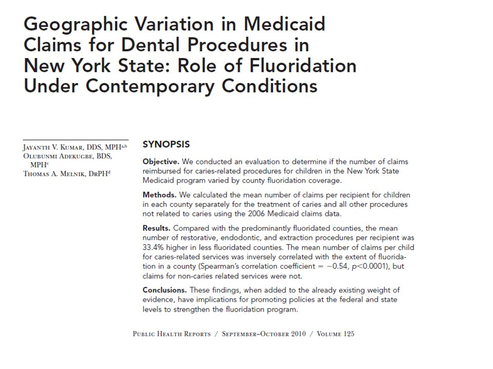 Mean claim per recipient for caries related procedures was correlated with county fluoridation status Spearman Correlation Coefficient -0.53 (p < 0.01).