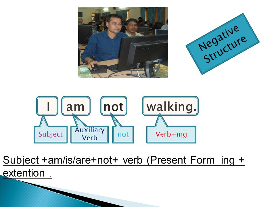 Auxiliary VerbSubject Verb+ing Auxiliary Verb (Am/Is/Are) + Subject + + verb (Present Form)+ ing .