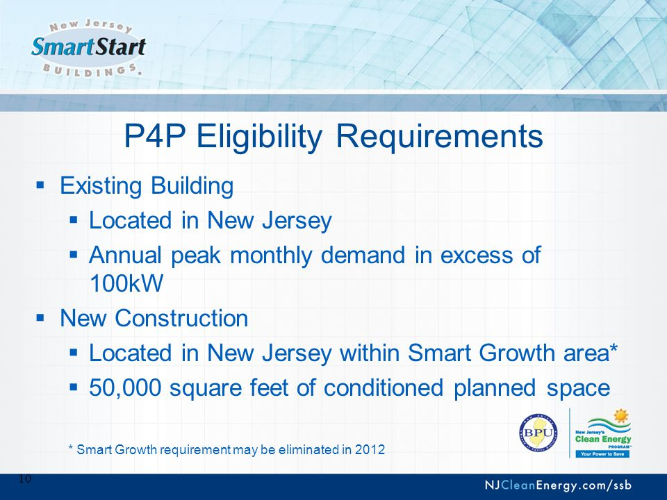 P4P Incentives  Participants pay partner fees  Requests for incentives filed by partner  Paid directly to participants to improve the performance of their buildings  Incentives up to $1 million per gas/electric meter or up to $2 million total per project, assuming there is both gas and electric savings, additional $1.25 million for CHP (if part of project).