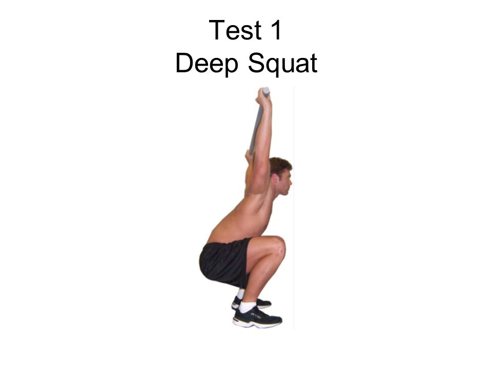 Deep Squat The deep squat challenges total body mechanics when performed properly Assess bilateral, symmetrical and functional mobility of the hips, knees and ankles.