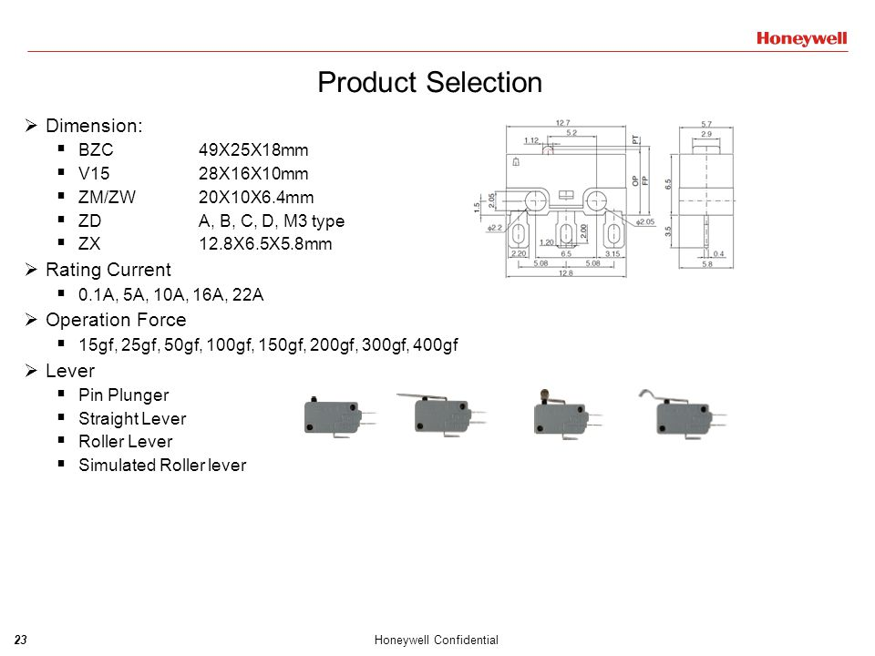 24Honeywell Confidential Product Selection