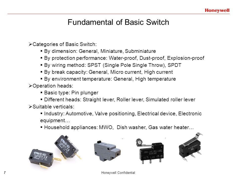 8Honeywell Confidential Fundamental of Basic Switch Glossary Four Positions: FP, OP, TTP and RP Four Travels: PT, OT, MD(DT) and RT Three Forces: OF, TF and RF