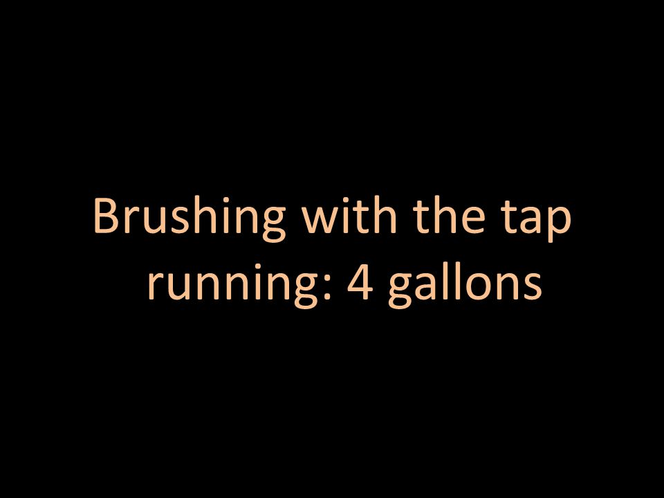 Brushing with the tap off: 0.25 gallons