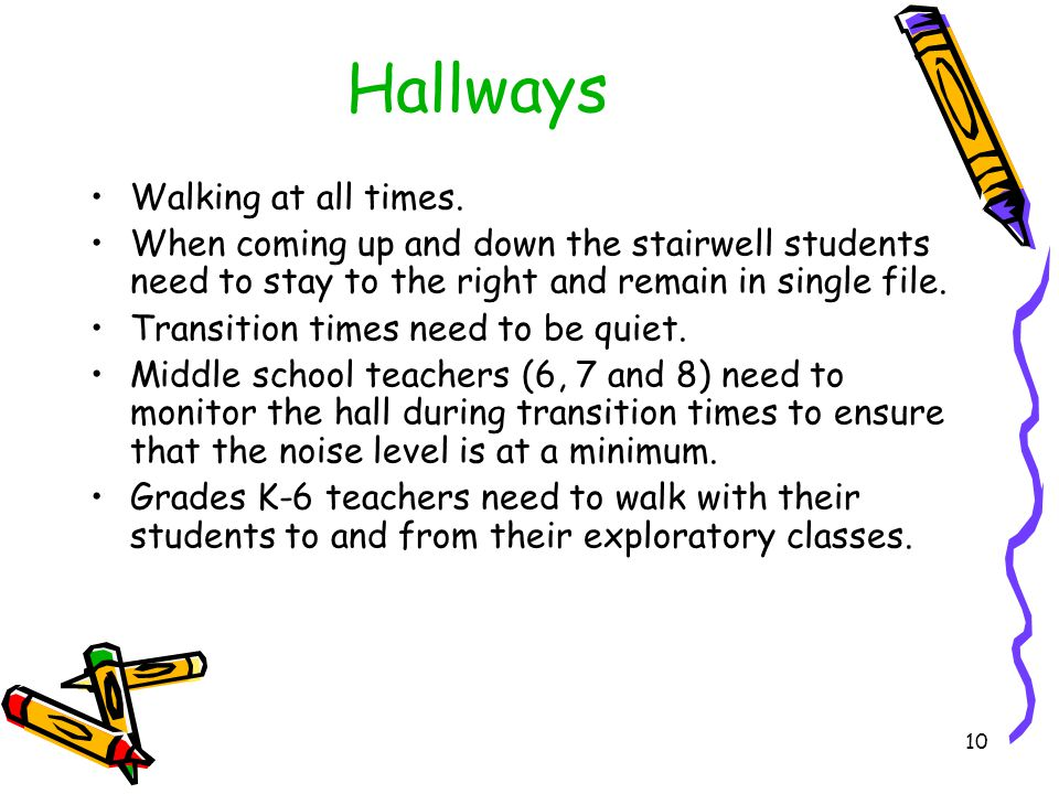 Hallways (con't) Grades K-6 teachers need to walk with their students to and from their exploratory classes.