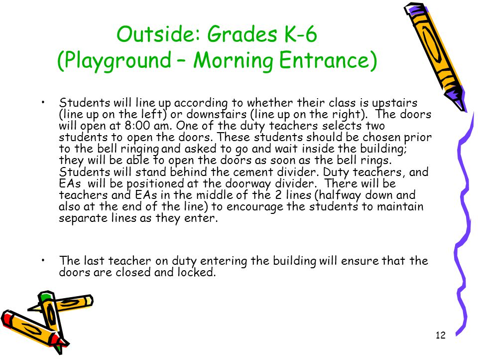 Outside: Grades 7-8 (Playground - Morning Entrance) Students are to wait outside until the bell rings.