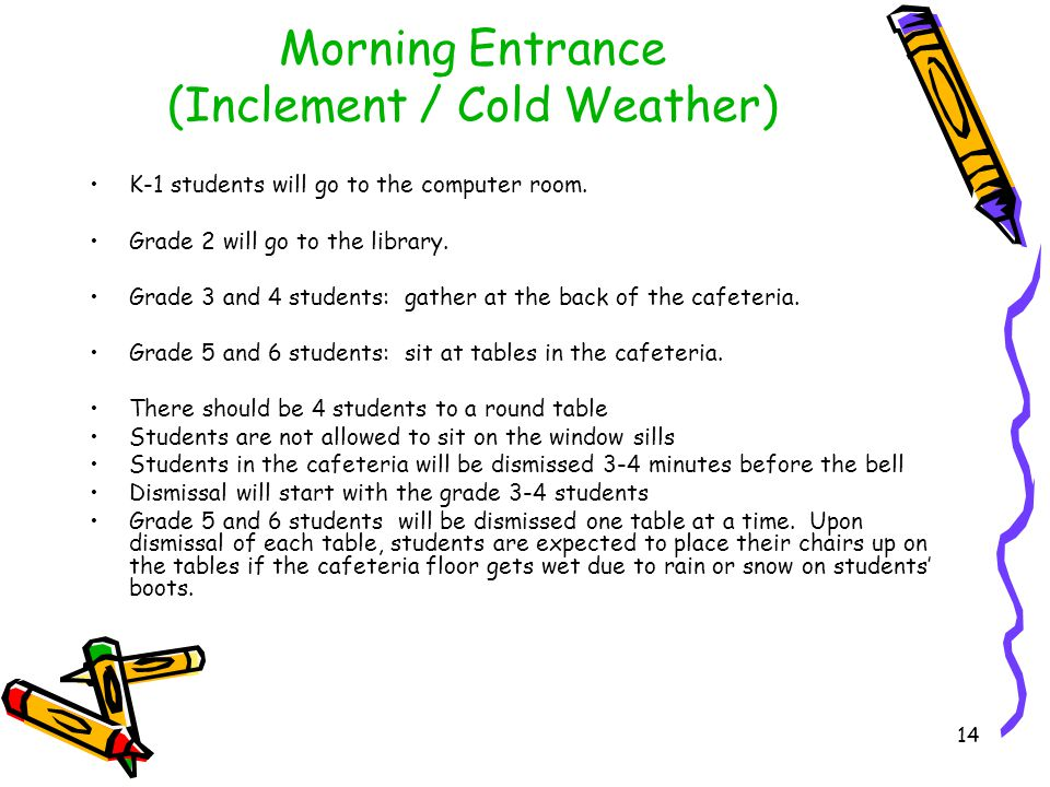 Morning Entrance (Inclement / Cold Weather) Grade 7 and 8 students are to go directly to room 137 (Tech.