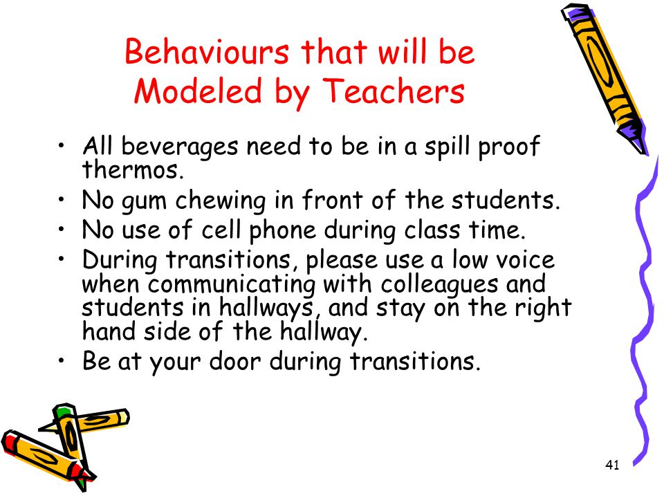 Behaviours that will be Modeled by Teachers Respect our district's dress code.