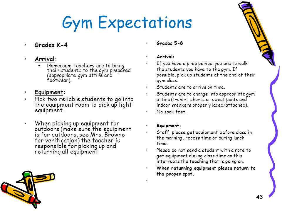 Gym Expectations Grades K-4 Dismissal: Homeroom teachers are to pick up their students at the designated area either the office door or cafeteria door.
