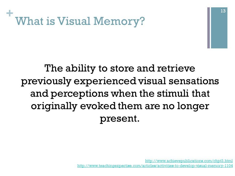 + For example… Recall picture details Complete the picture Recall and sequence a series previously shown 14