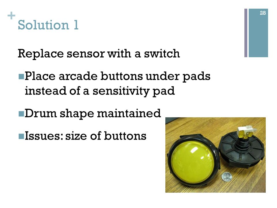 + Solution 2 Replace current sensitivity pad with professional Piezo transducer Has a very long lifespan Issues: Expensive 29