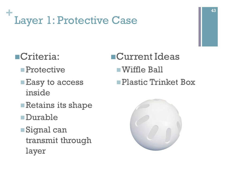 + Layer 2: Foam Ball Criteria Easy to access inside Retains its shape Durable Signal can transmit through layer Current Ideas Poof Foam Ball 44