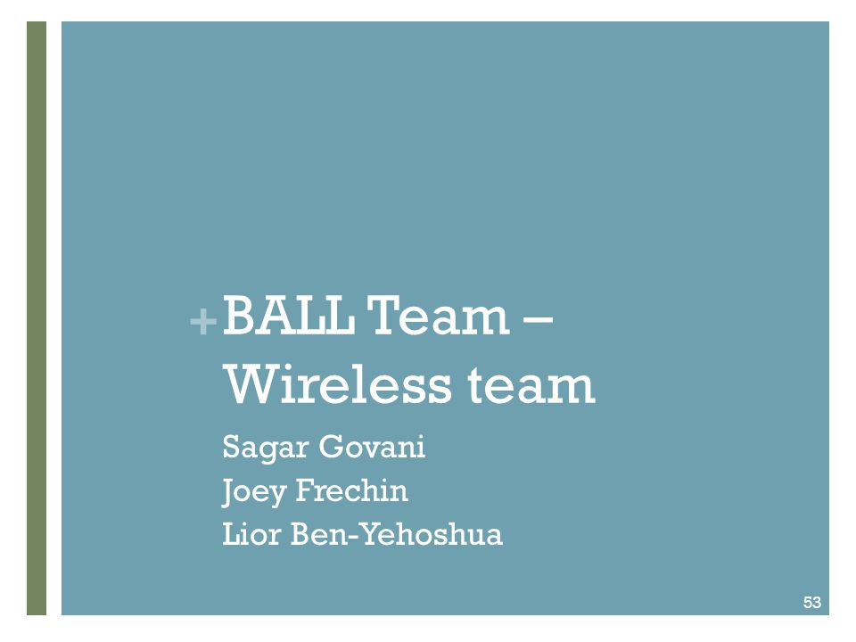 + Wireless Transmission Overarching goal for Fall semester 2011 Design & construct working prototype Component goals Acquire most fitting accelerometer Build intra-ball circuit Achieve wireless transmission to handheld device Log acceleration data; calculate & output force values 54