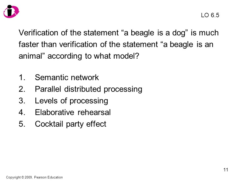 12 Verification of the statement a beagle is a dog is much faster than verification of the statement a beagle is an animal according to what model.