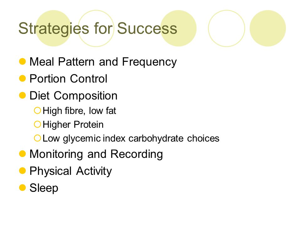 Strategies for Success Meal frequency  One meal a day, 2, 3 or 5 small meals a day.