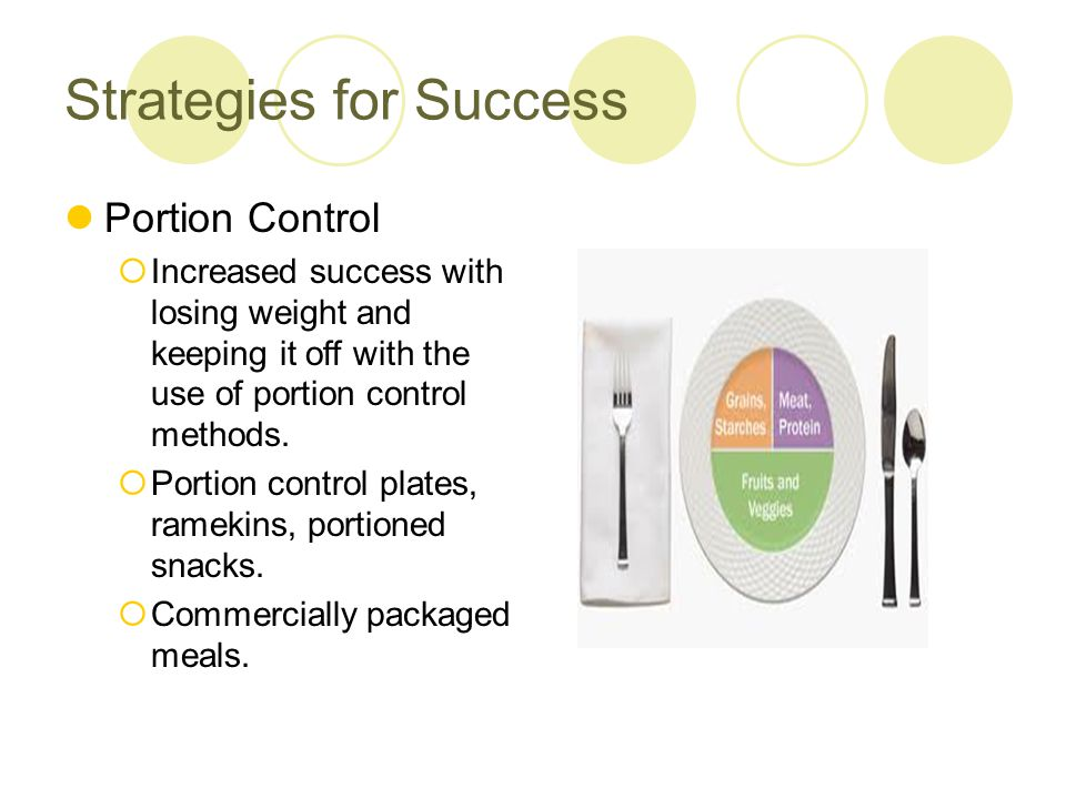 Strategies for Success Some evidence that smaller portion size is associated with lower calorie intakes without increasing ratings of hunger.