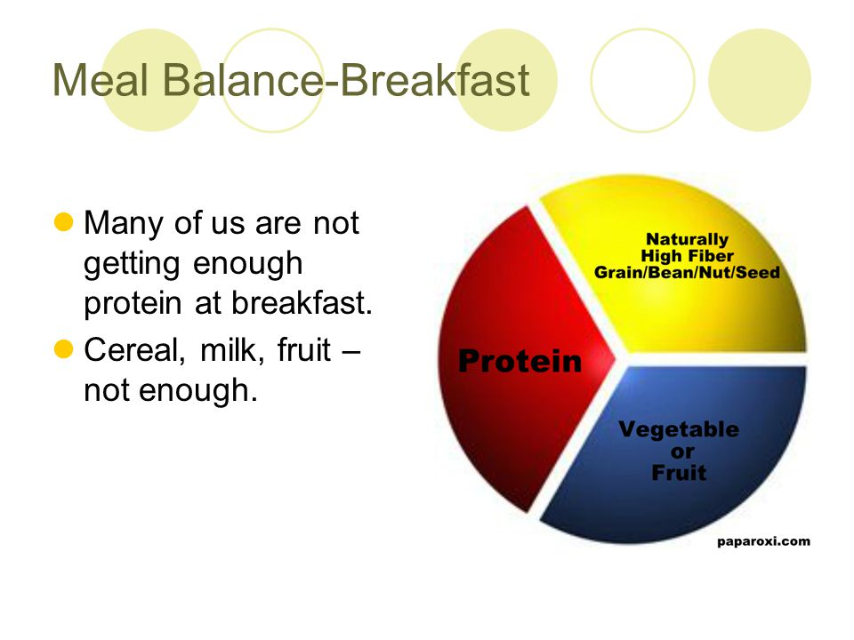 Meal Balance – Lunch and Dinner Include protein at each. ½ plate vegetables. Use smaller plates.