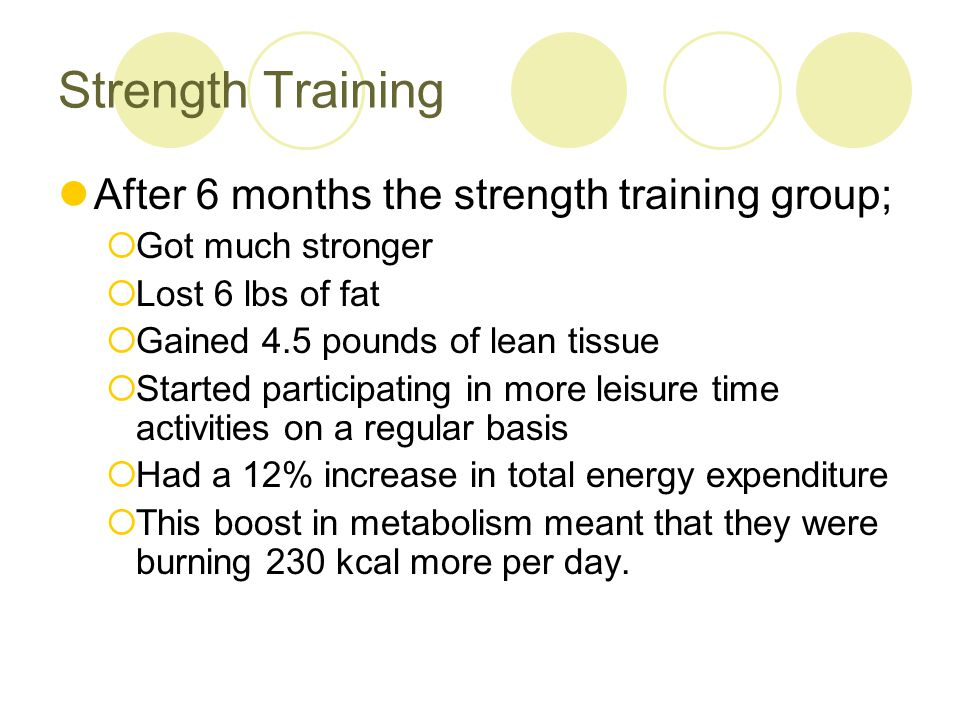 Physical Activity To build lean muscle mass, aim for two sessions of strength training a week.