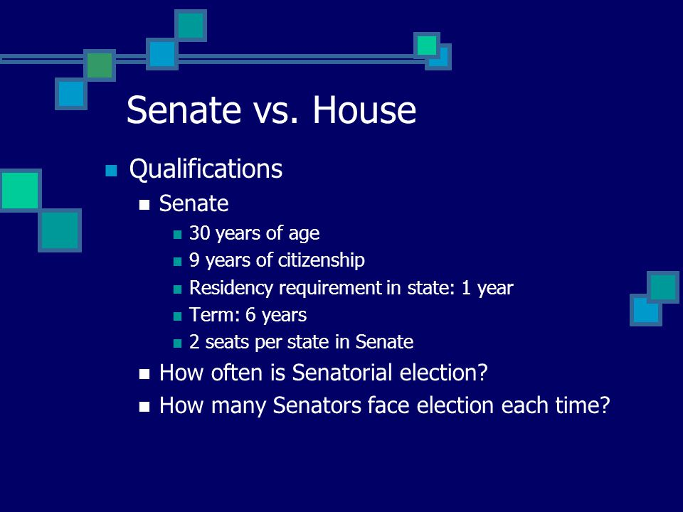 Qualifications Senate 30 years of age 9 years of citizenship Residency requirement in state: 1 year Term: 6 years 2 seats per state in Senate How often is Senatorial election.